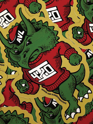 """Mascot"" stickers. Available at Image 420. One free with every online order."